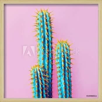 Set Neon Cactus. Minimal creative stillife Innrammede plakater