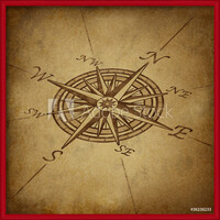 Compass rose in perspective with grunge texture Innrammede plakater