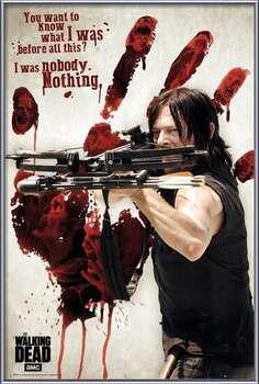 Innrammet plakat Walking Dead - Bloody Hand Daryl