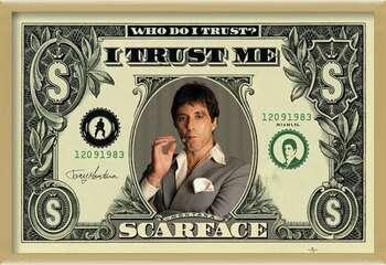 Innrammet plakat SCARFACE - dollar