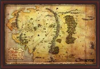 Innrammet plakat The Hobbit - Middle Earth Map