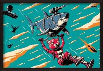 Innrammet plakat Fortnite - Laser Shark